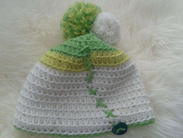 BommelDuO Mütze °weiß-grün-gelb