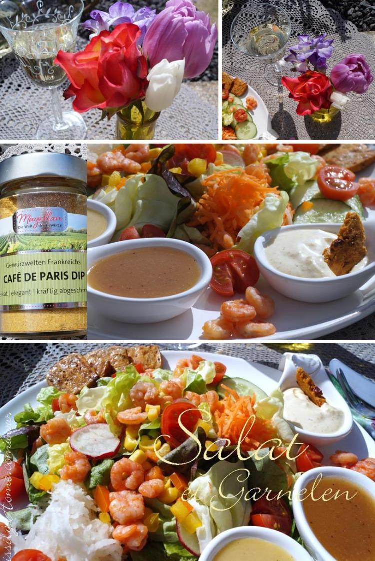 Gemischter Salat mit Garnelen und Vinaigrette
