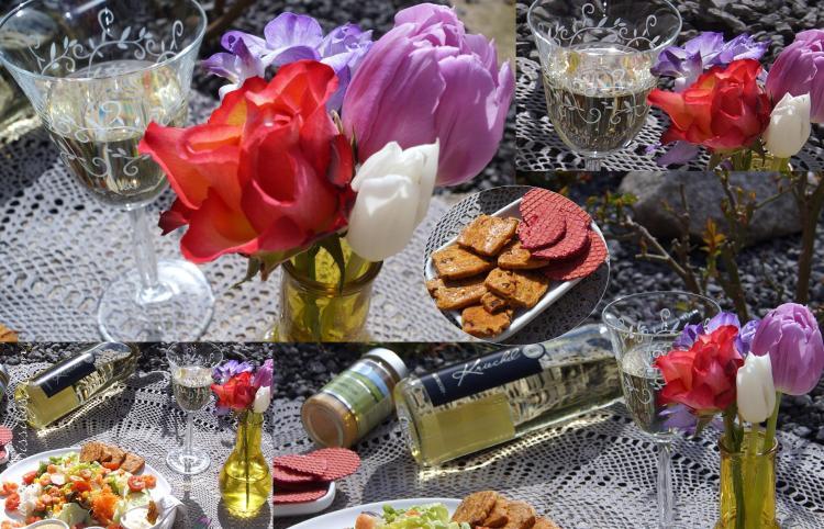 Gemischter Salat mit Garnelen und Vinaigrett