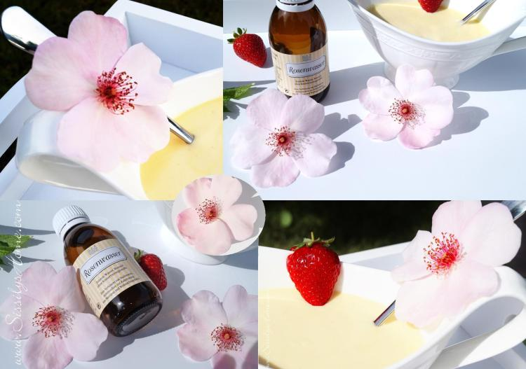 Erdbeeren Bourbon-Vanillesoße mit Rosenwasser