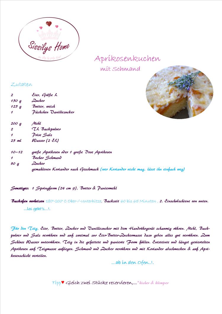 Rezept Aprikosenkuchen mit Schmand