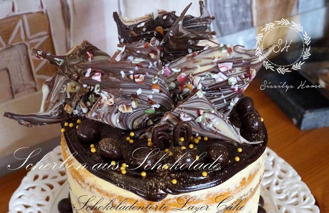 Schokoladentorte Layer Cake °Nougartcreme auf Orangen-Zitronenspiegel
