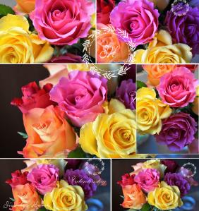 Collage Valentinstag Rosenstrauß
